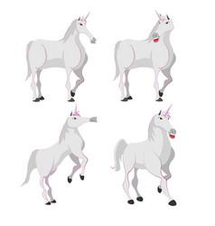 horse white unicorn character set vector image vector image
