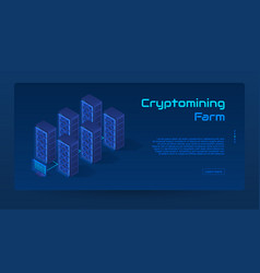 abstract cryptomining isometric concept banner vector image