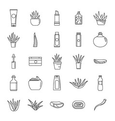Aloe vera plant logo icons set outline style vector