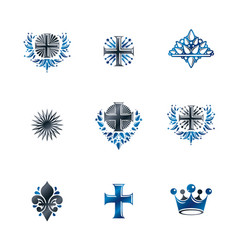Ancient crosses crown stars and flowers emblems vector