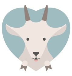 Animal set Portrait of a goat in love Flat vector
