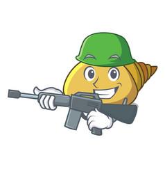 Army mollusk shell character cartoon vector