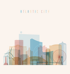 atlantic city state new jersey skyline vector image