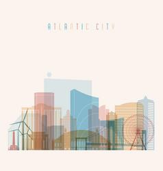 Atlantic city state new jersey skyline vector