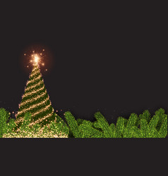 background with golden abstract christmas tree vector image