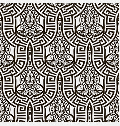 Black and white abstract greek seamless pattern vector