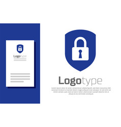 Blue shield security with lock icon isolated on vector