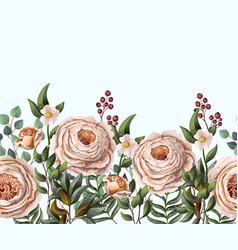 border with english peachy roses vector image