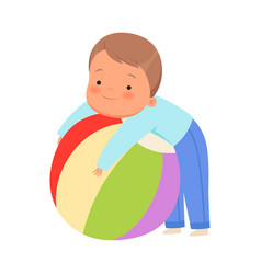 Boy hugs a huge ball on a vector