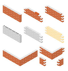 Brick walls of the house with cement mortar set vector