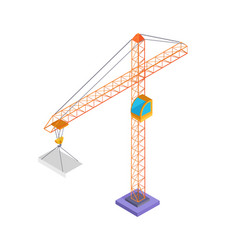 building crane and slab poster vector image