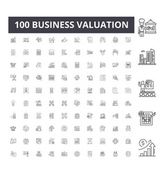 Business valuation line icons signs set vector