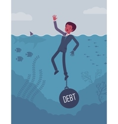 Businessman drowning chained with a weight Debt vector