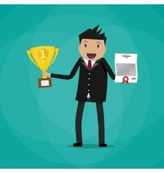 businessman winner holding certificate and trophy vector image
