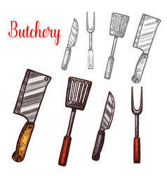 butchery knives cutlery sketch icons vector image