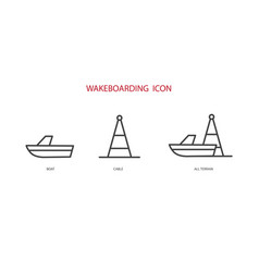 Cable and boat wakeboard vector