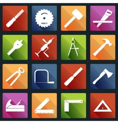 Carpentry tools icons white vector image