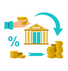 cash deposit to bank profit increase vector image