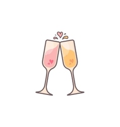Champagne glasses with hearts inside vector image
