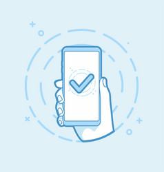 checkmark on smartphone screen vector image