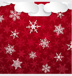 christmas background with white snowflakes vector image