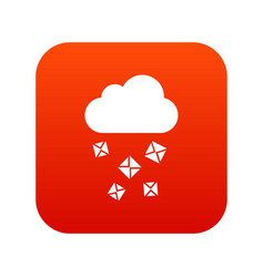 Cloud and hail icon digital red vector