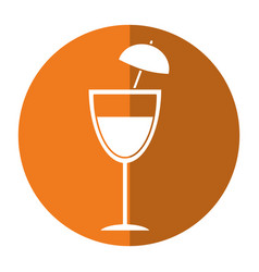Cocktail cup umbrella drink shadow vector