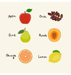 Collection of 6 Fruits icons vector