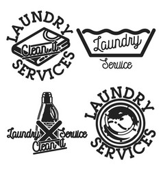 Color vintage laundry services emblems vector