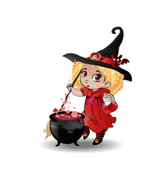 cute baby girl witch with broomstick and cauldron vector image