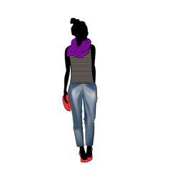 cute fashion girl wearing trendy jeans trousers vector image