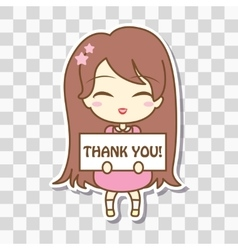 Cute girl holding frame with text vector image