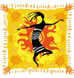 dancing figure on an orange background vector image vector image