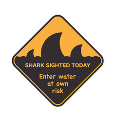 danger signal icon with a shark fin vector image