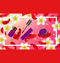 decorative cosmetics make up accessories vector image vector image