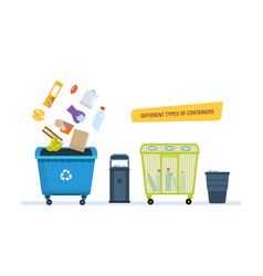 Different types containers for food waste paper vector