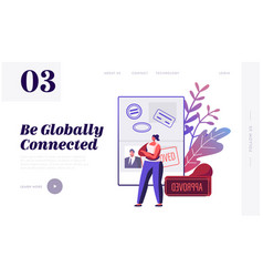 Documents for travel website landing page woman vector