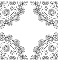 Doodle boho frame in black and white vector image