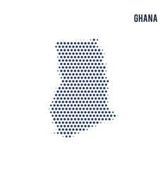 dotted map of ghana isolated on white background vector image