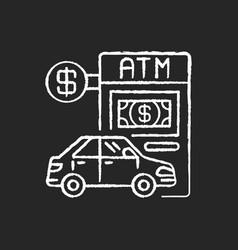 Drive through atm chalk white icon on black vector