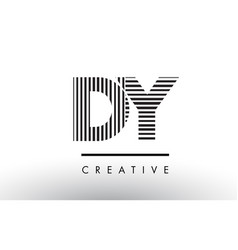 Dy d y black and white lines letter logo design vector