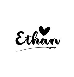 Ethan name text word with love heart hand written vector