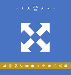 Extend resize icon cross arrow sign vector
