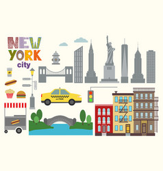 Flat city elements of new york vector
