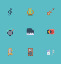 Flat icons quaver rhythm motion mp3 player and vector