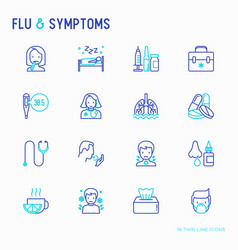 Flu and symptoms thin line icons set vector