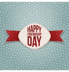 Friendship Day festive Tag and red Ribbon vector