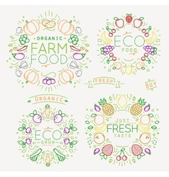 Fruits Vegetables Monograms Color vector image