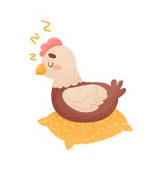 Funny cartoon hen bird sleeping on pillow vector