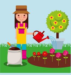 Girl gardener farm vector